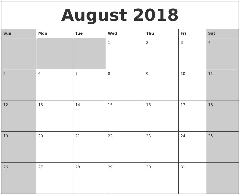 august 2018 calendar printable pdf