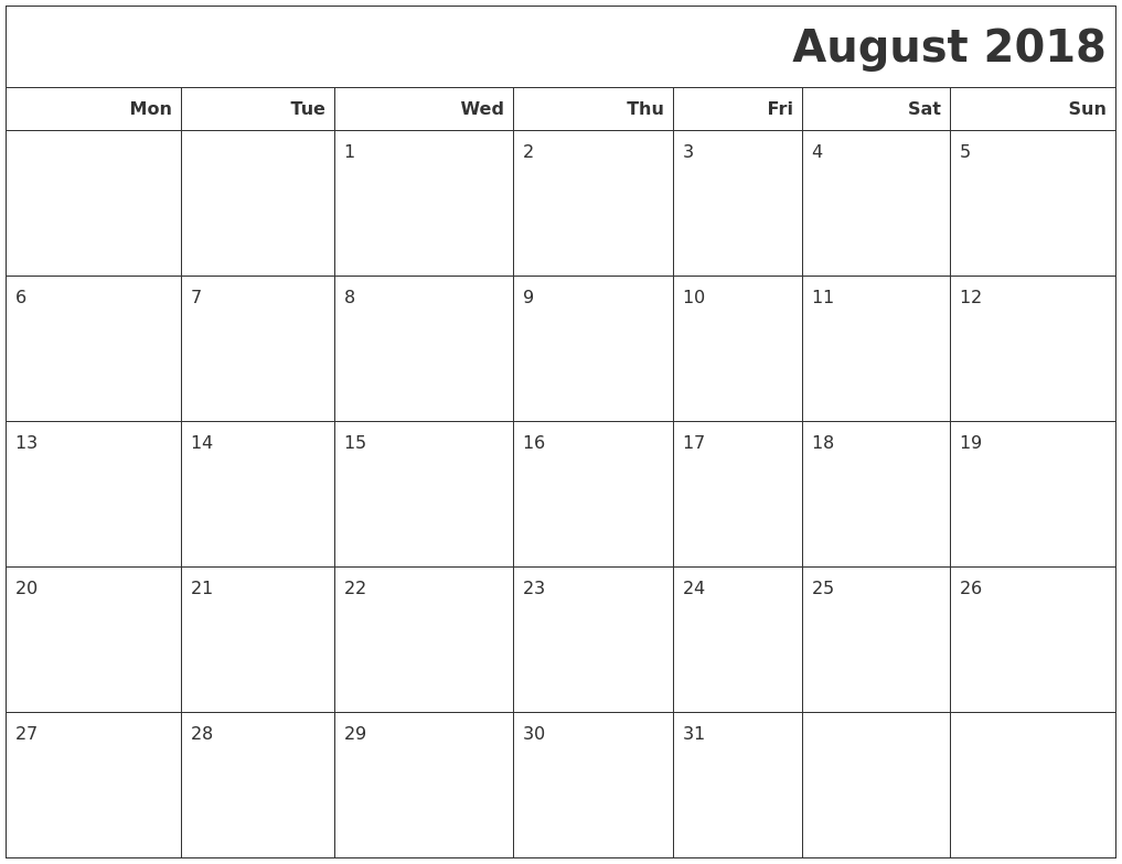 2018 calendar to print