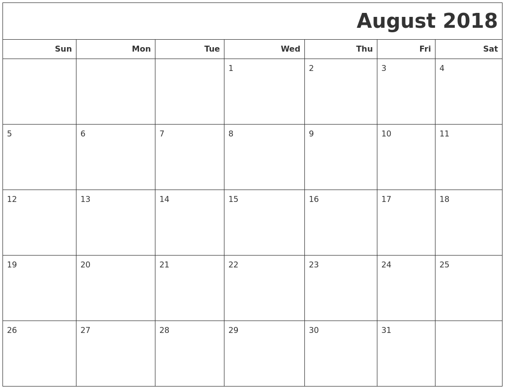 August 2018 Calendars To Print