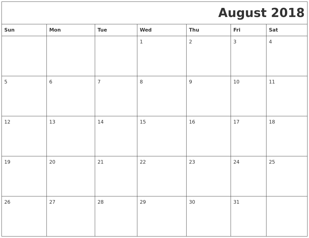 August 2018 Download Calendar