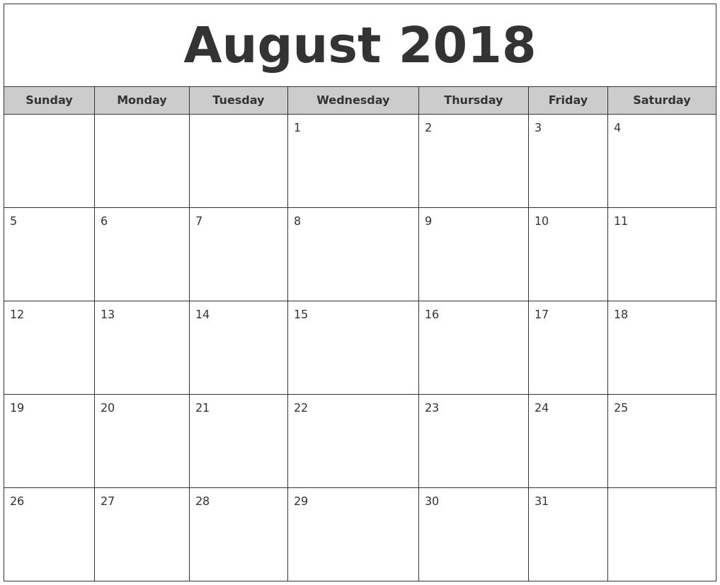 free month calendar