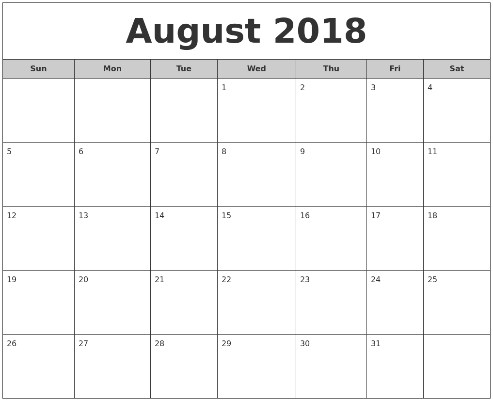 July 2018 Monthly Calendar Printable