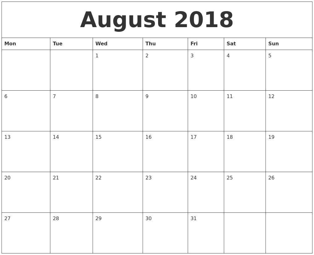 August 2018 Free Online Calendar