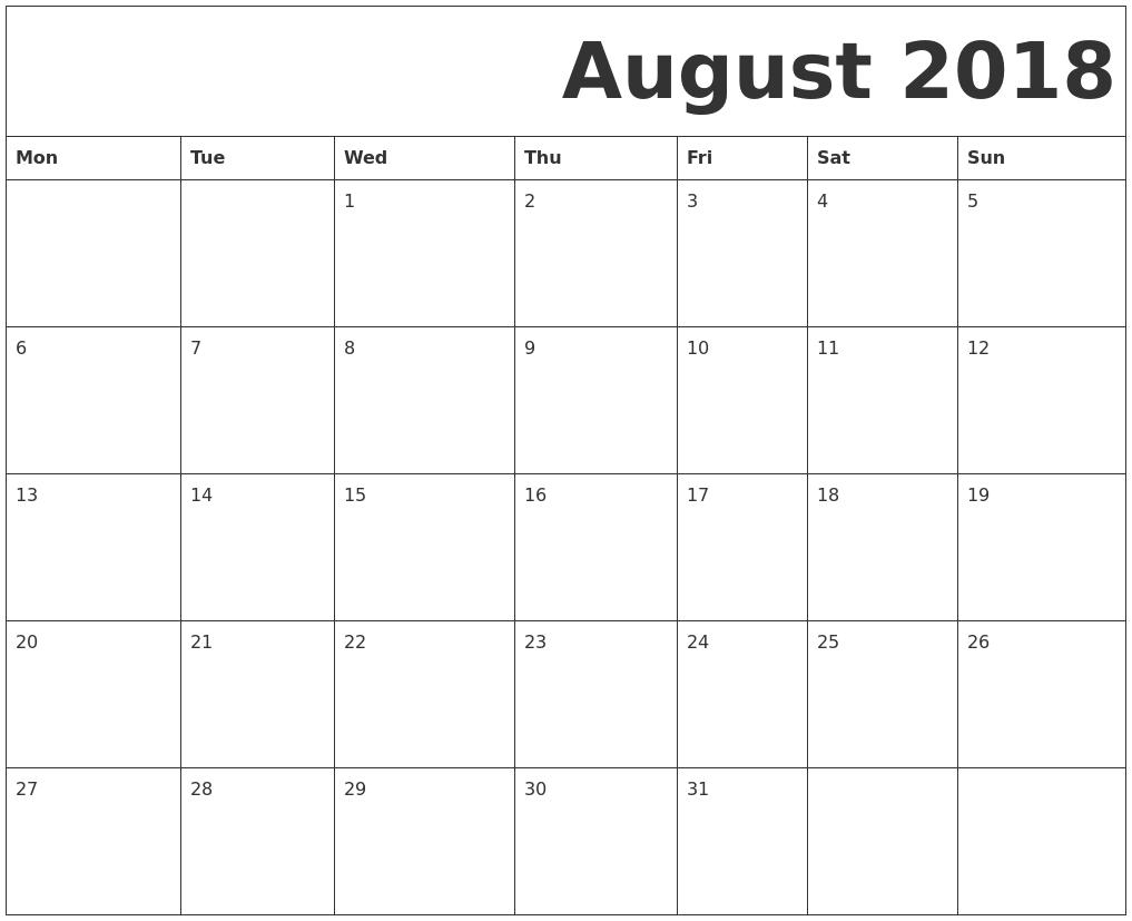free downloadable calendars 2018