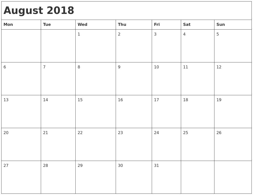August 2018 Month Calendar