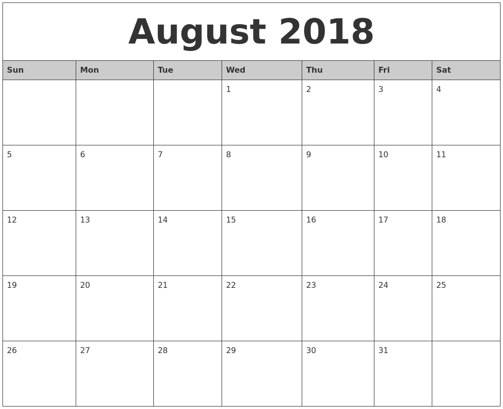 august 2018 monthly calendar printable
