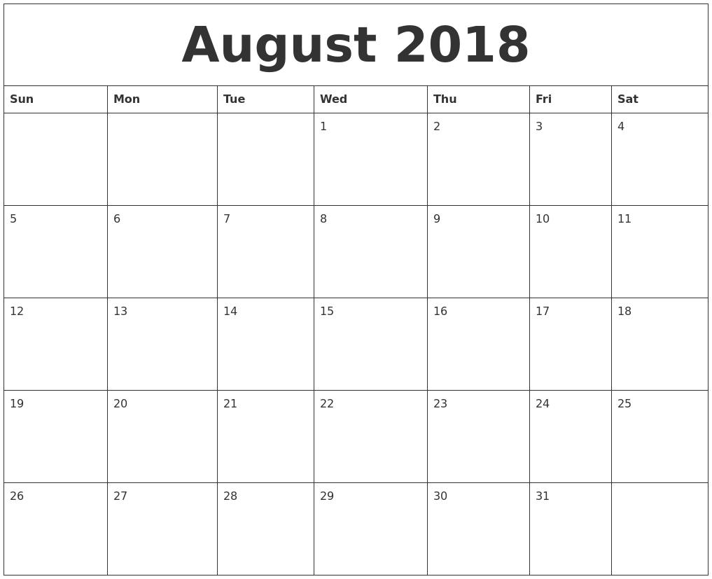 August 2018 Print Monthly Calendar