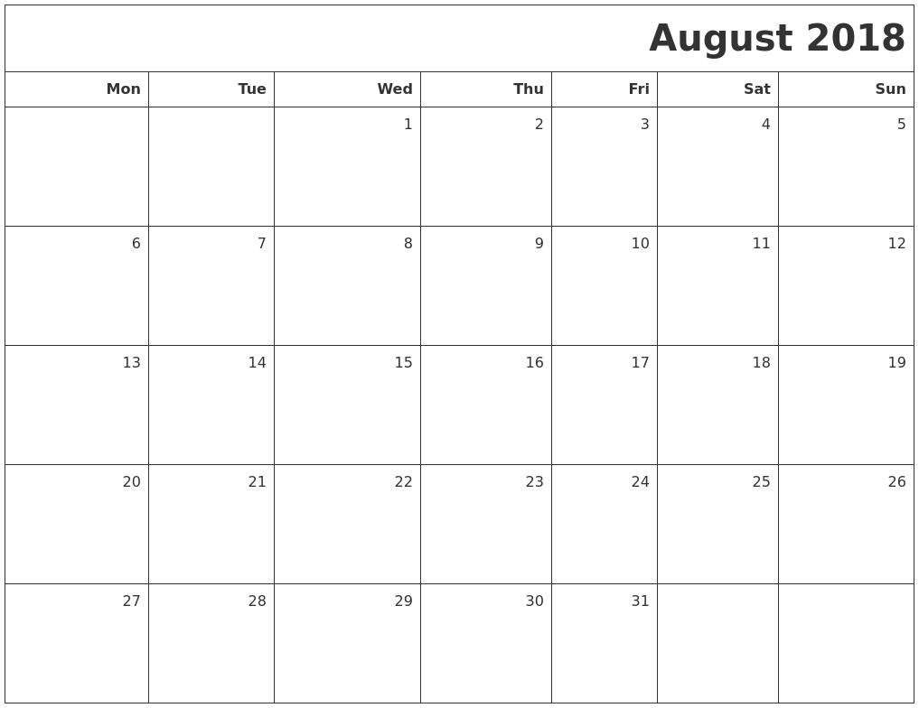 august 2018 blank calendar