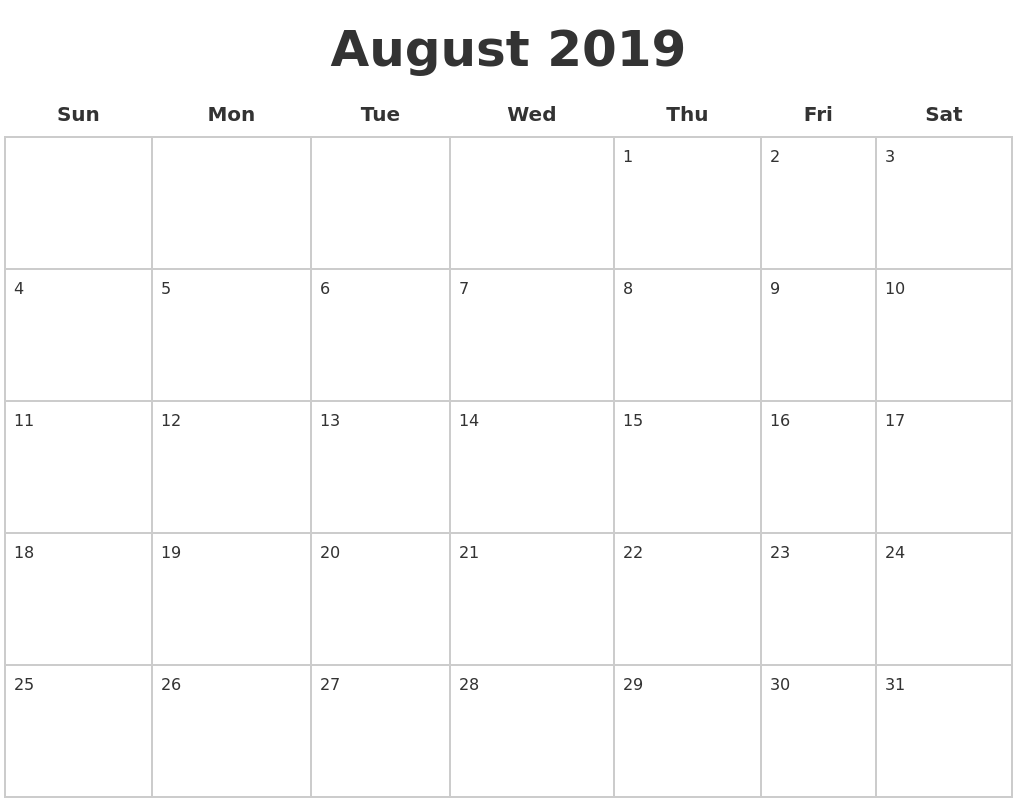 August 2019 Blank Calendar Pages