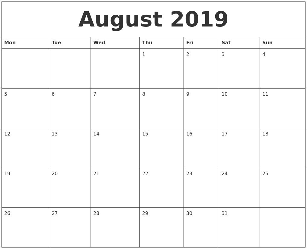 august 2019 blank monthly calendar template