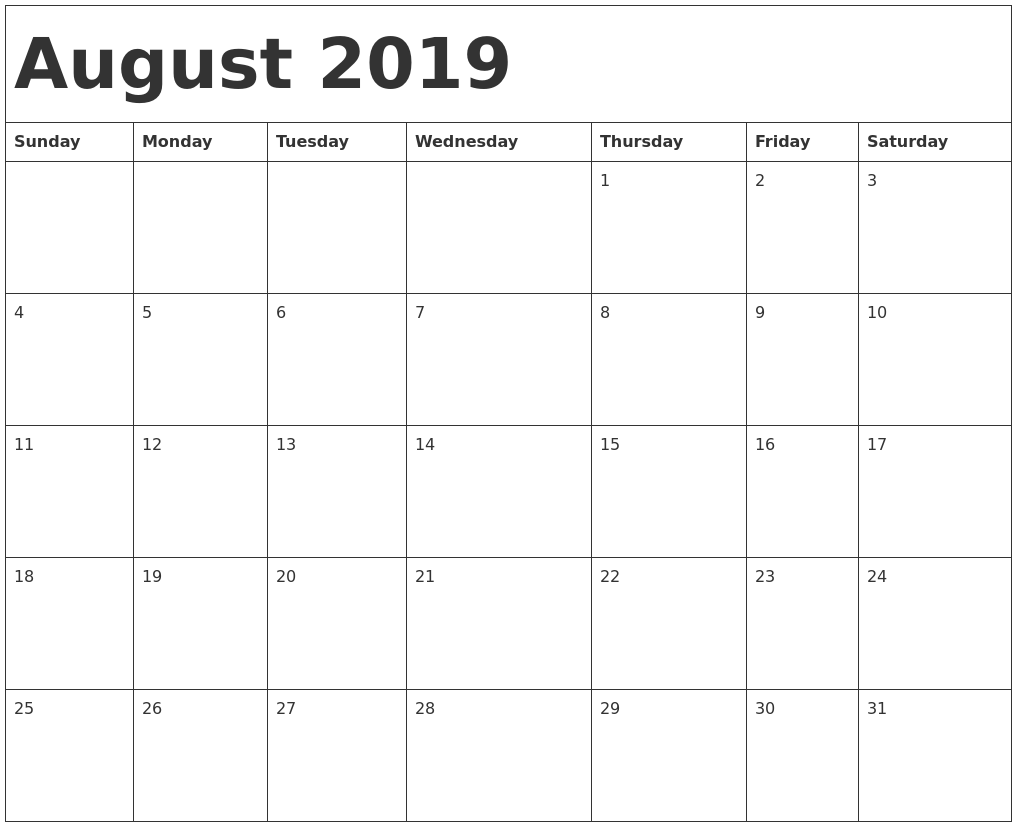 picture about August Printable Calendars known as August 2019 Calendar Template
