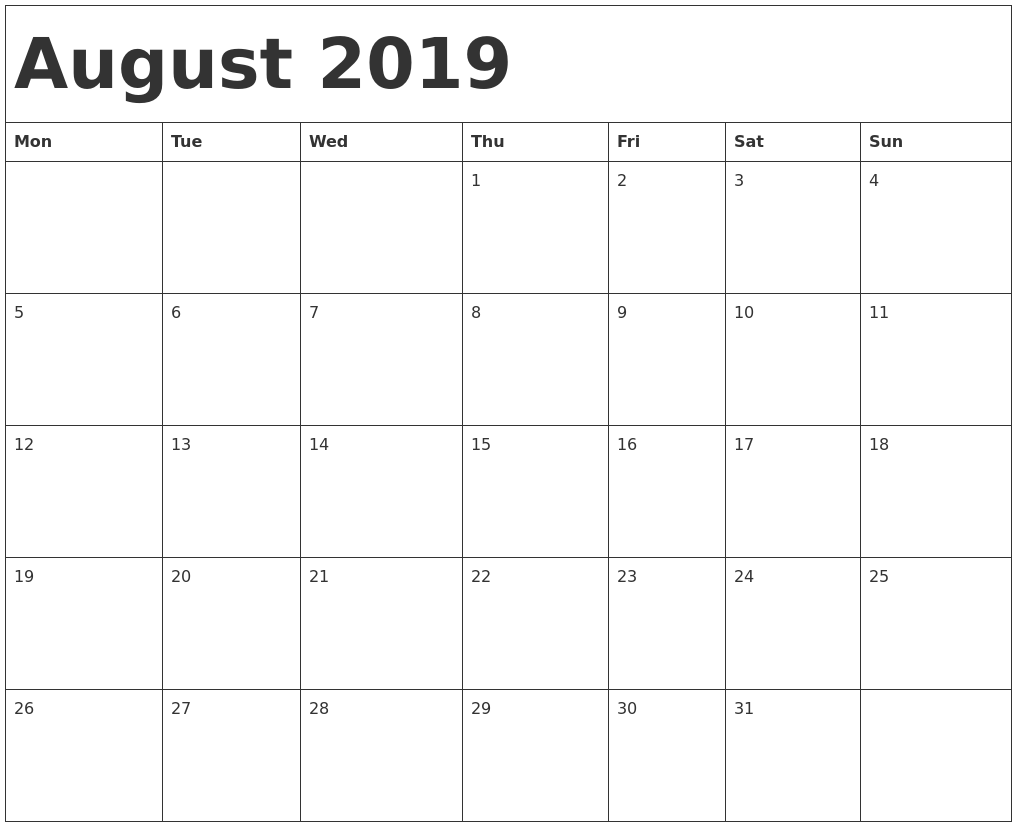 Image result for august calendar 2019