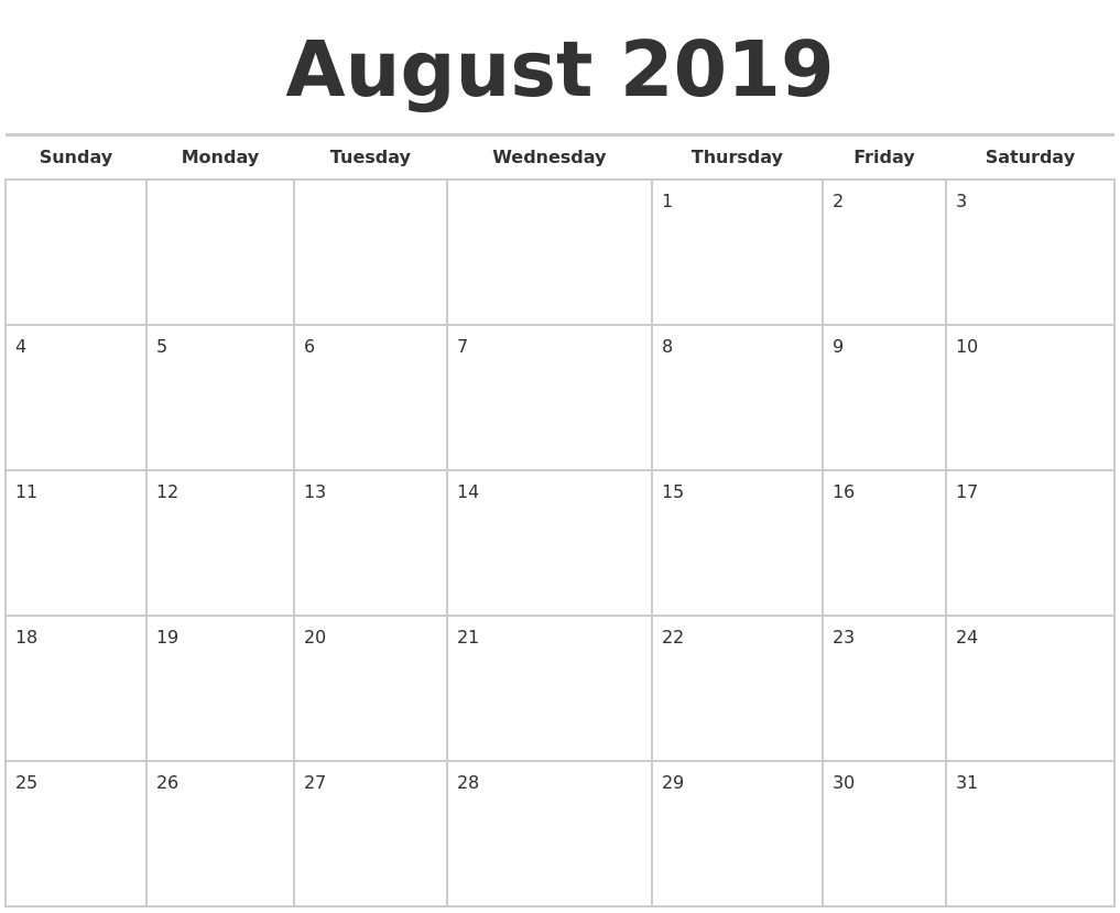 August 2019 Calendars Free