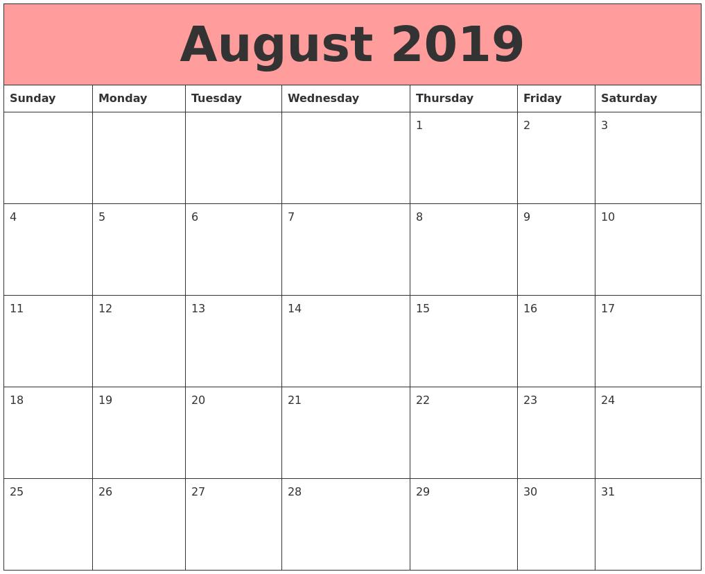 August 2019 Calendars That Work
