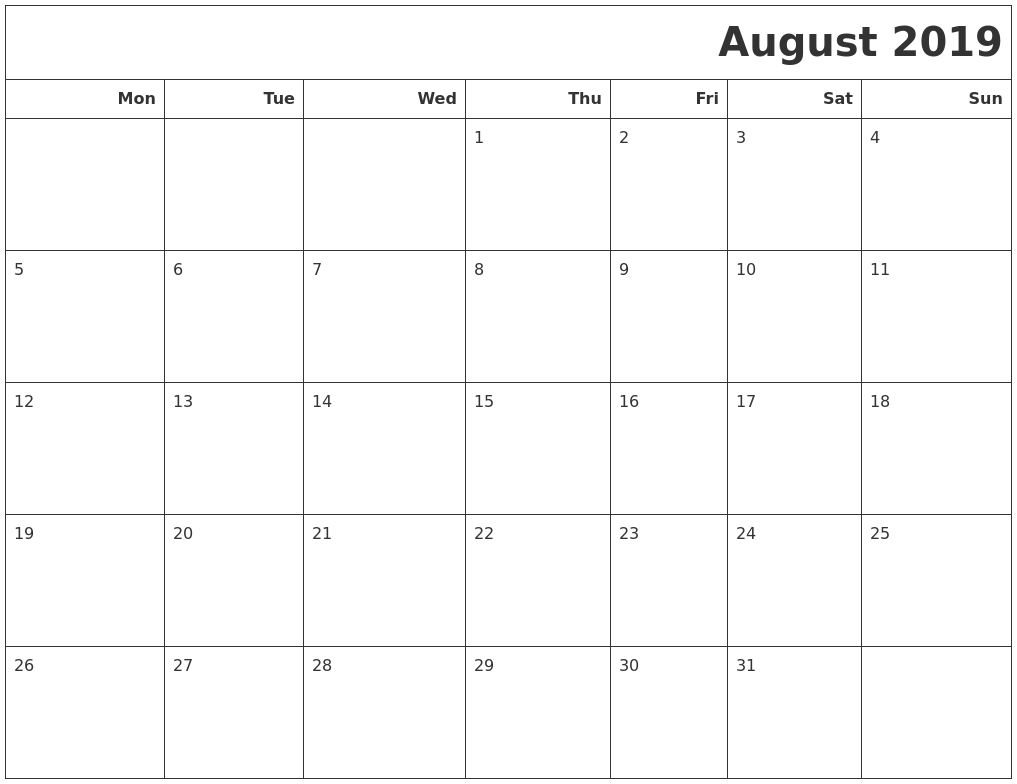 August 2019 Calendars To Print PDF's