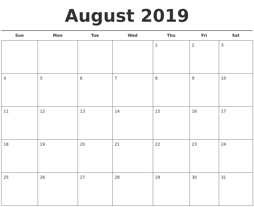 August 2019 Calendar.August 2019 Free Calendar Template