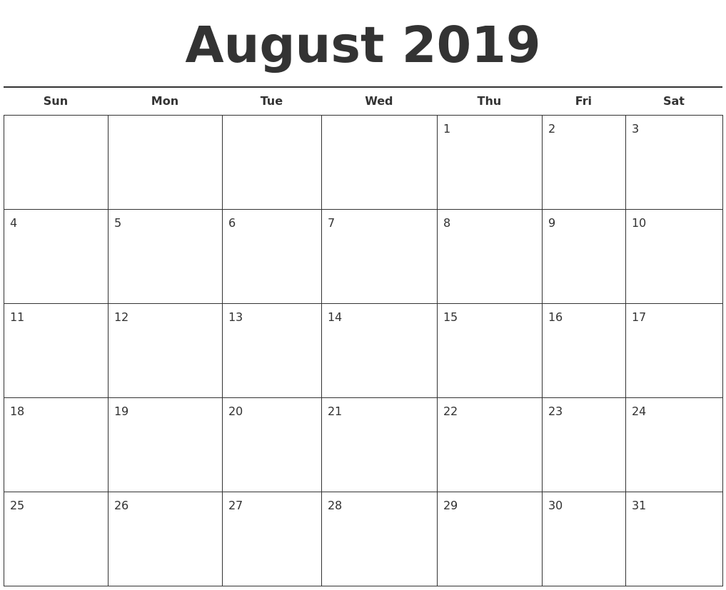 Calendar Template 2019 : October calendars free