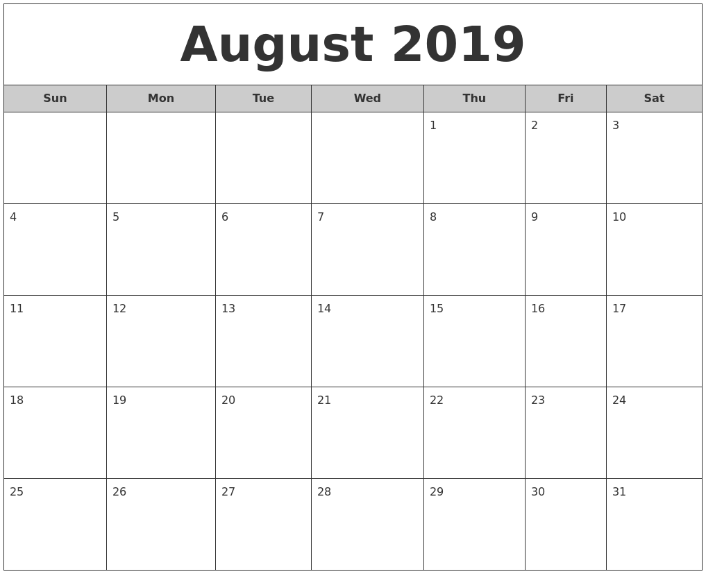 August 2019 Free Monthly Calendar