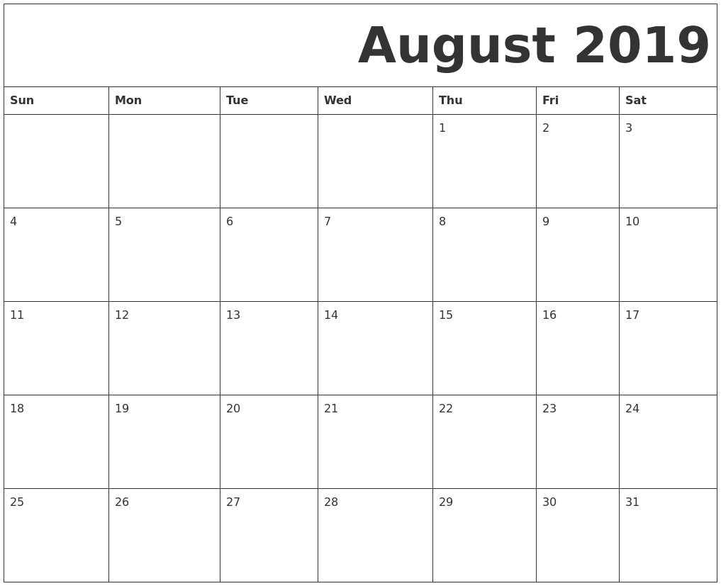 graphic about Printable Calendar Aug named August 2019 Totally free Printable Calendar