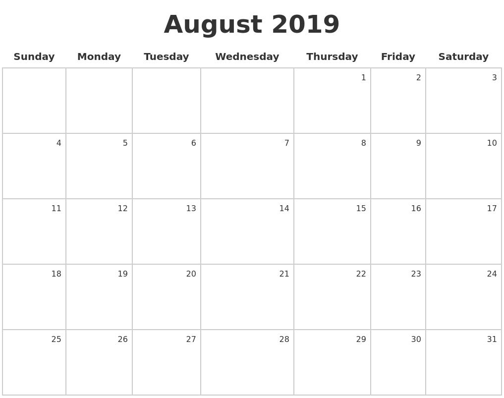 august 2019 make a calendar