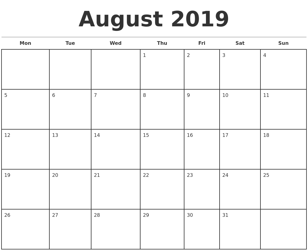 June July August 2019 Calendar Printable.August 2019 Monthly Calendar Template