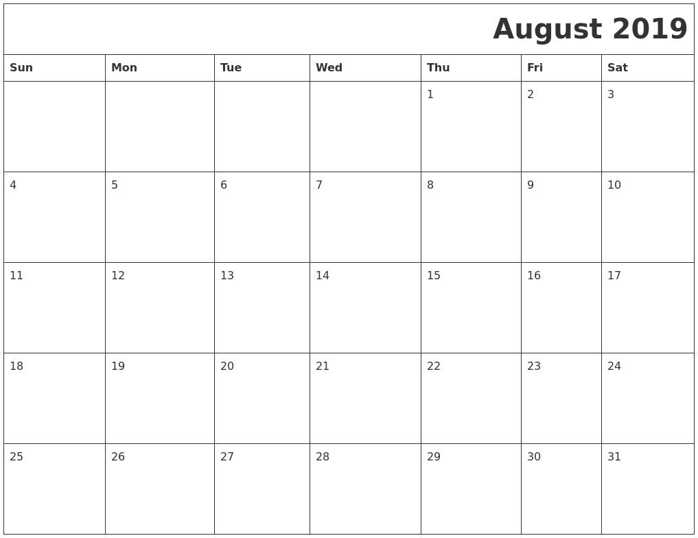 graphic about Printable August Calendar identify August 2019 Printable Calender