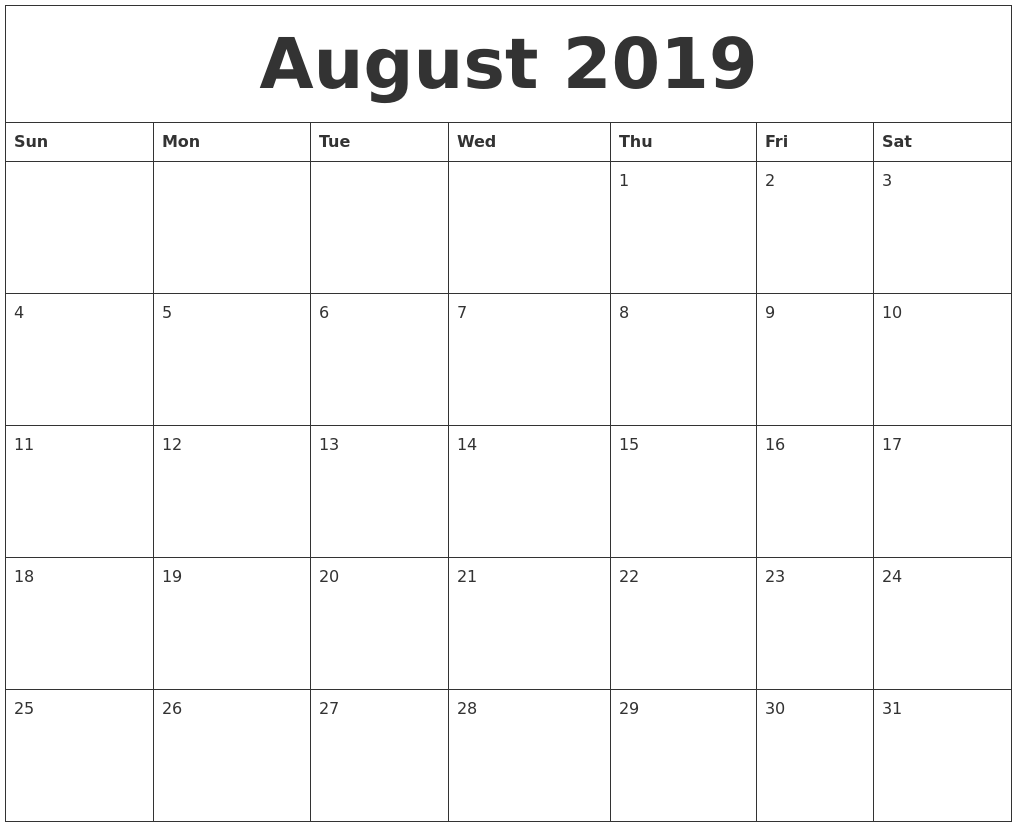 graphic about Daily Printable Calendar titled August 2019 Printable Everyday Calendar