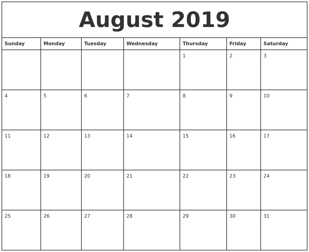 August 2019 Printable Monthly Calendar PDF's