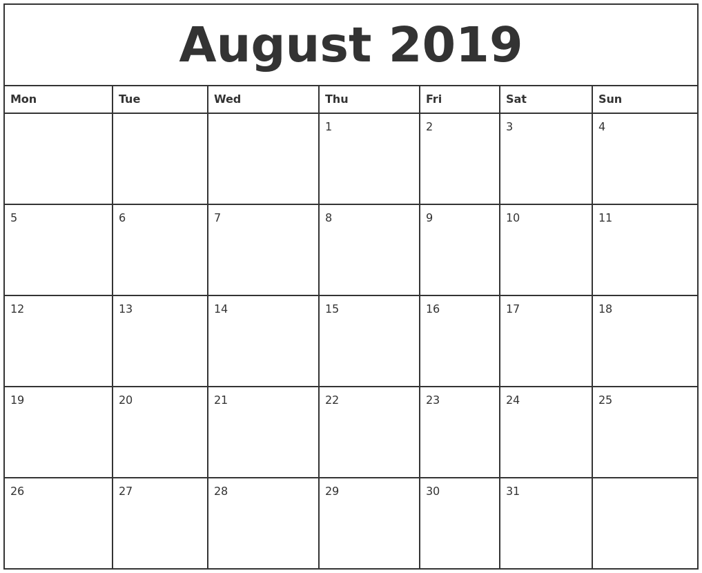 August 2019 Printable Monthly Calendar