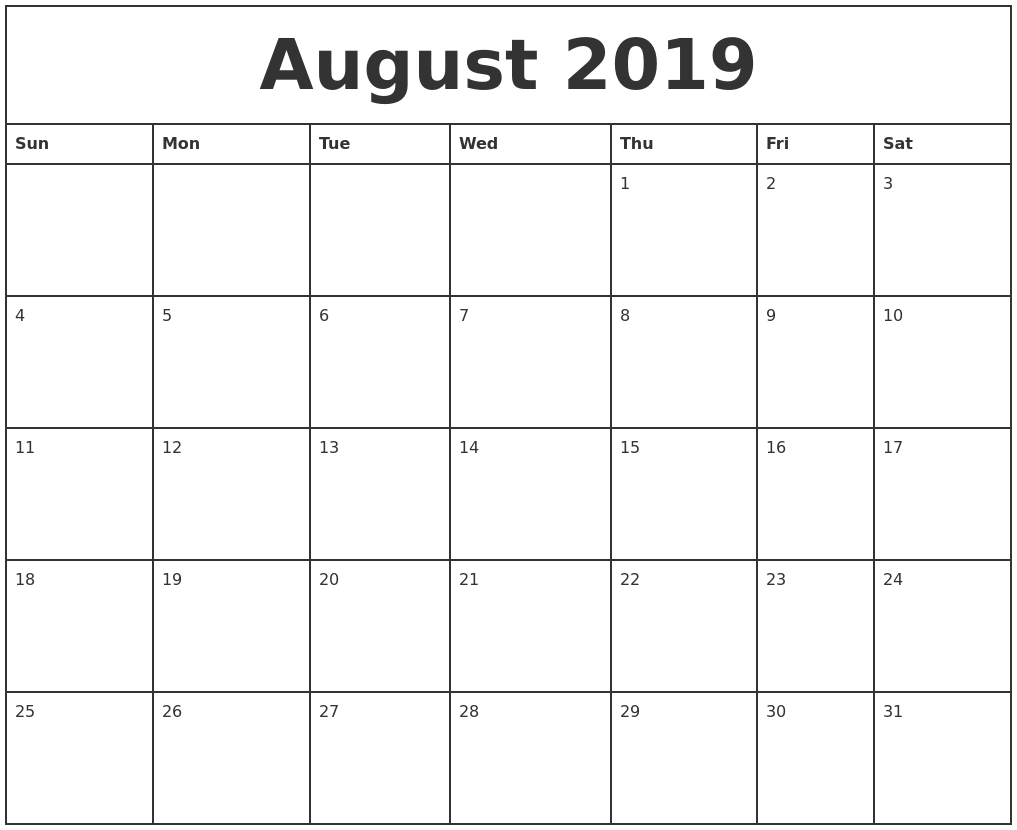 picture relating to Printable Monthly Calendar August titled August 2019 Printable Every month Calendar