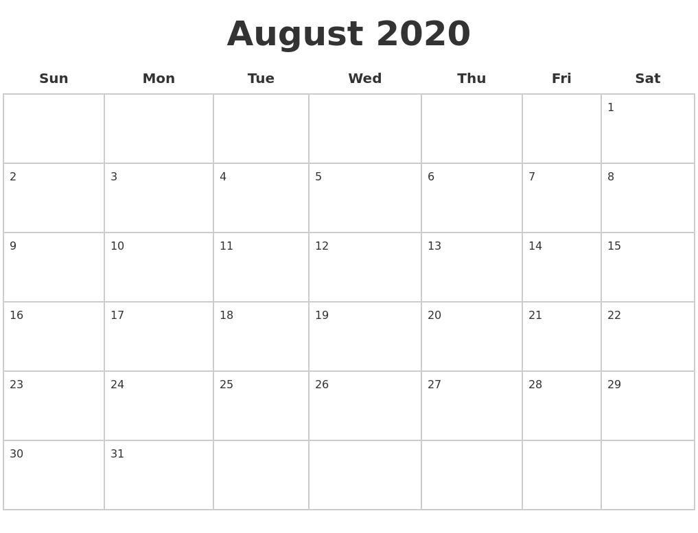 August 2020 Blank Calendar Pages