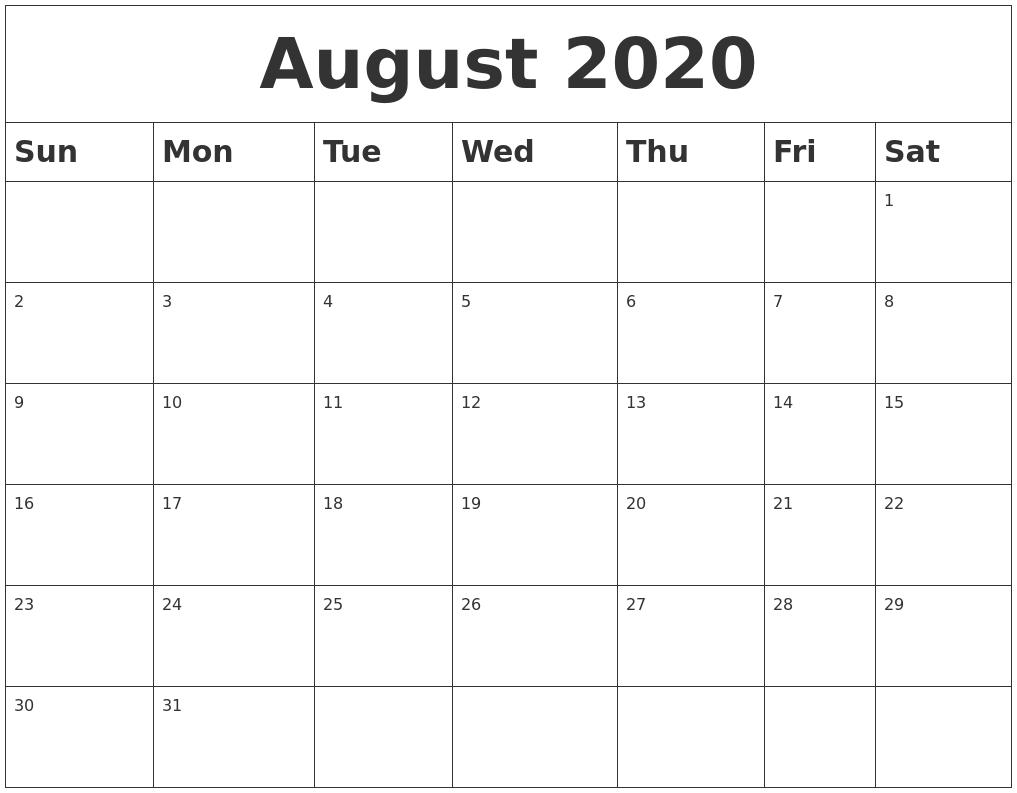 Blank Calendar August 2020 Printable.August 2020 Blank Calendar