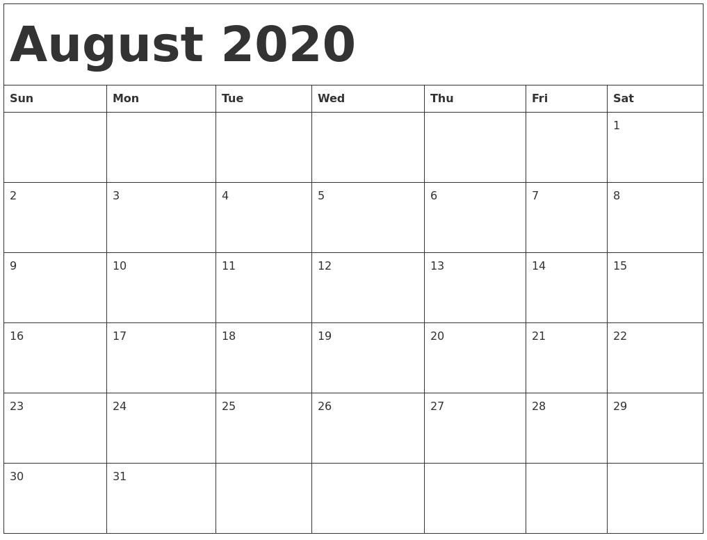 Calendar August 2020 Printable.August 2020 Calendar Template