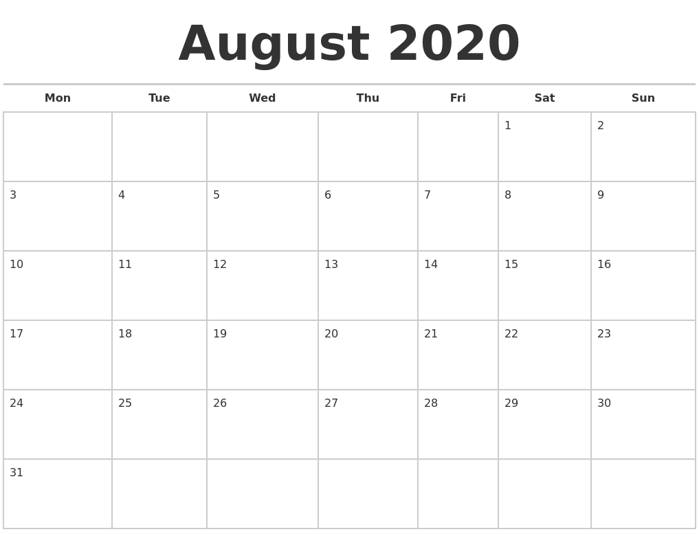 August 2020 Calendars Free