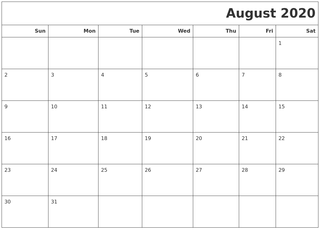 August 2020 Calendars To Print