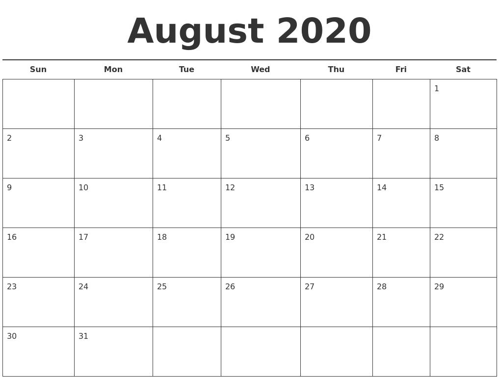Free Printable August 2020 Calendar.August 2020 Free Calendar Template