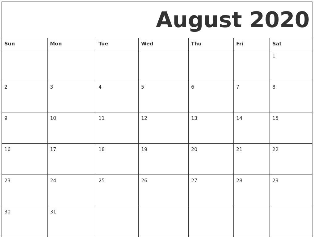 Printable Calendar August 2020.August 2020 Free Printable Calendar