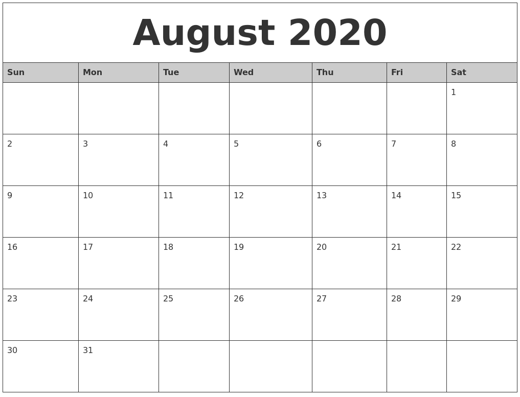 August 2020 Monthly Calendar Printable