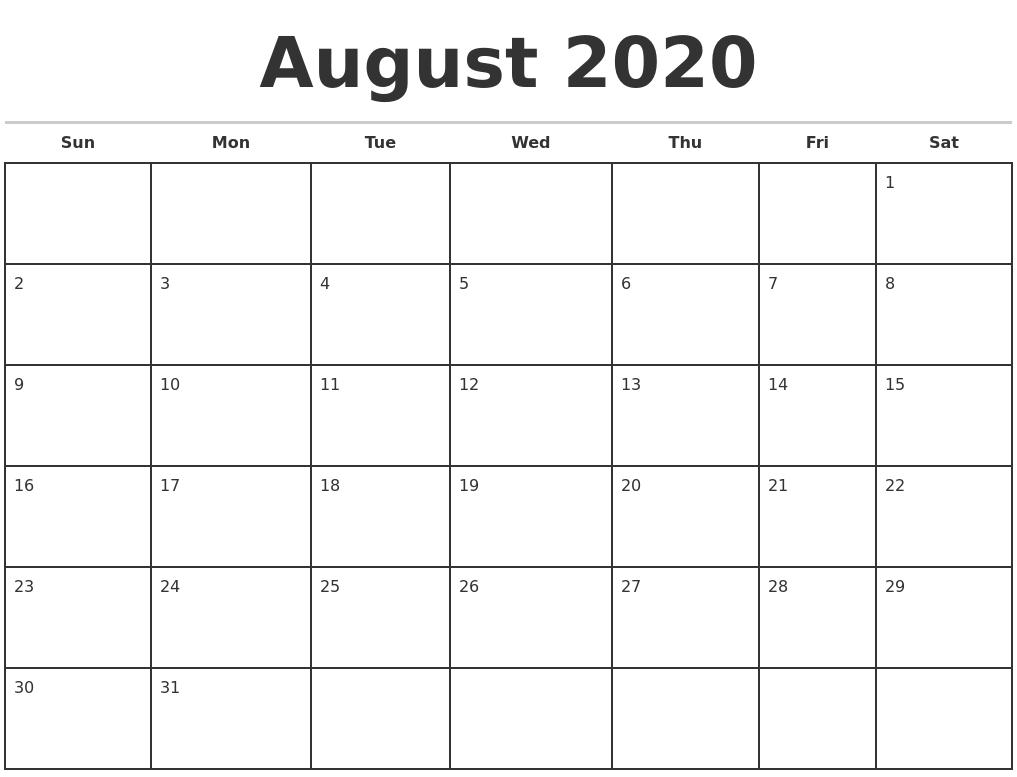 Blank Calendar August 2020.August 2020 Monthly Calendar Template