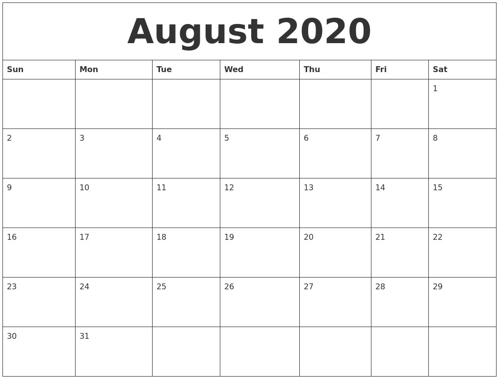 photograph regarding Printable Blank Monthly Calendar known as August 2020 Printable Blank Every month Calendar