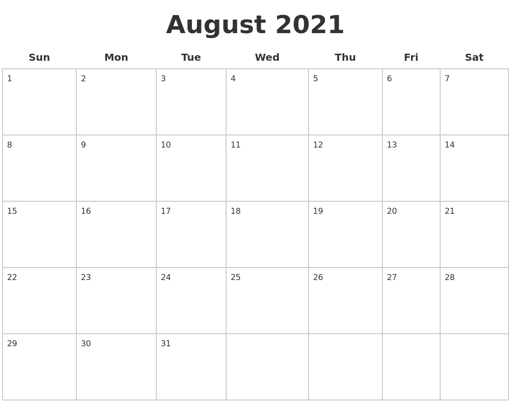 August 2021 Blank Calendar Pages