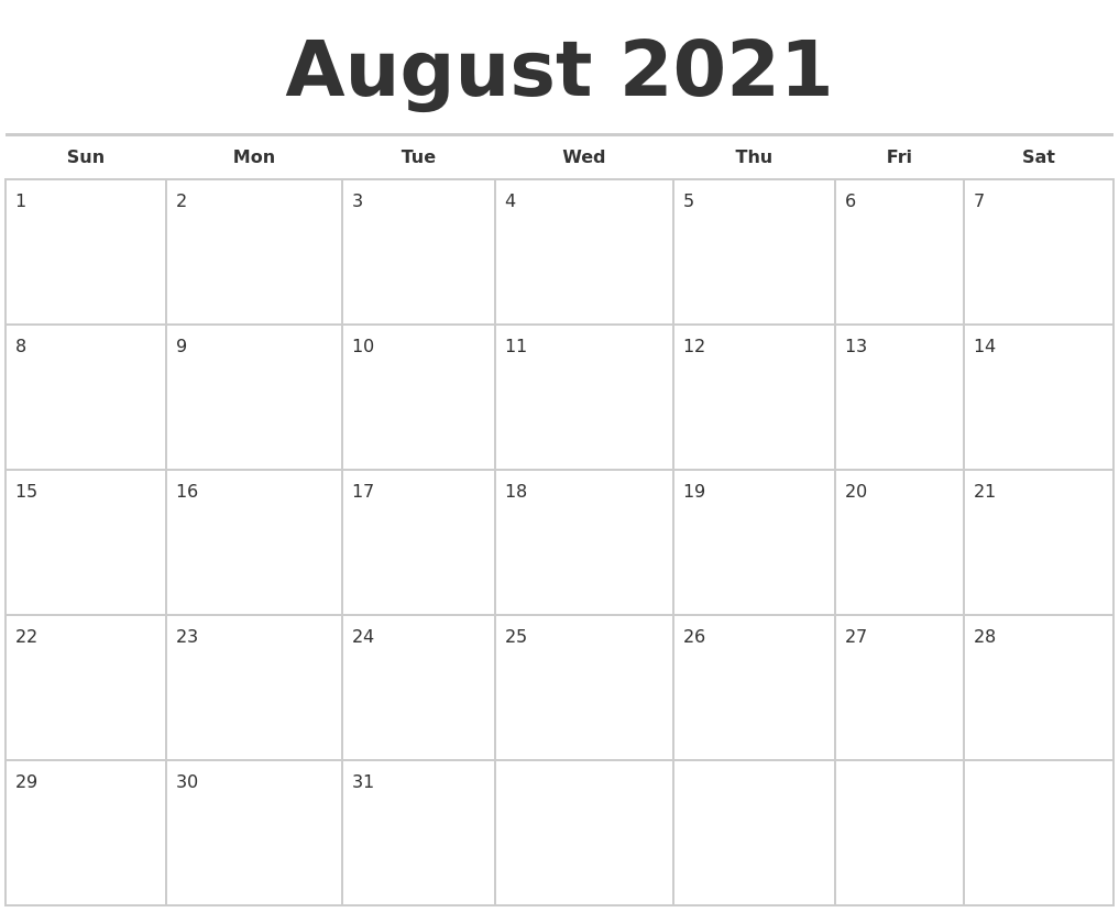 August 2021 Calendars Free