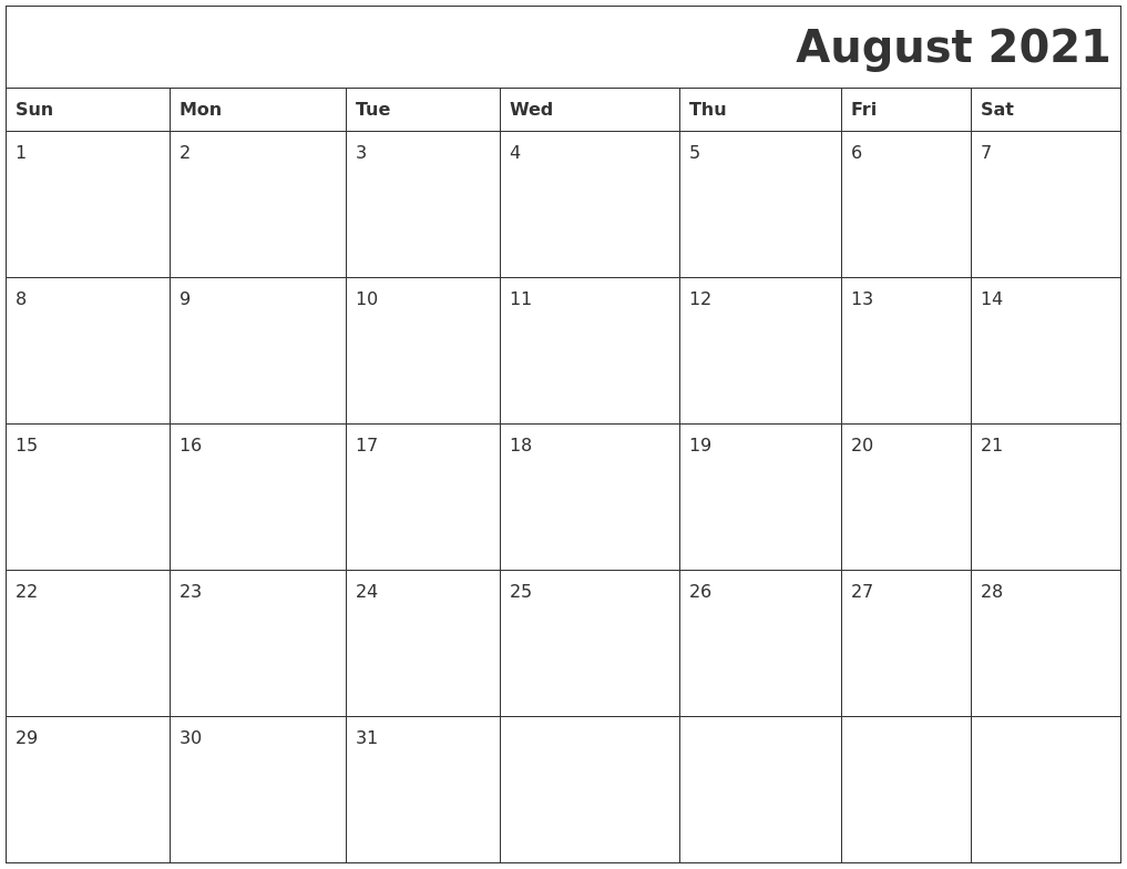 August 2021 Download Calendar