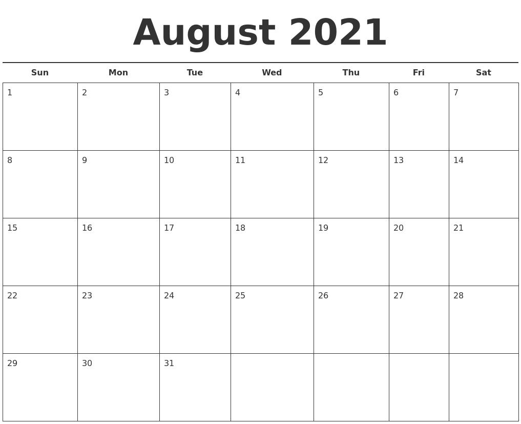 Calendar August 2021 Template Wallpaper