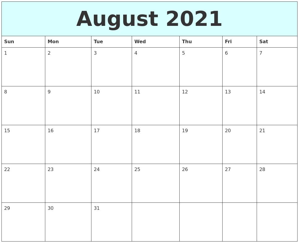Calendar Typography Zoom : August free calendar