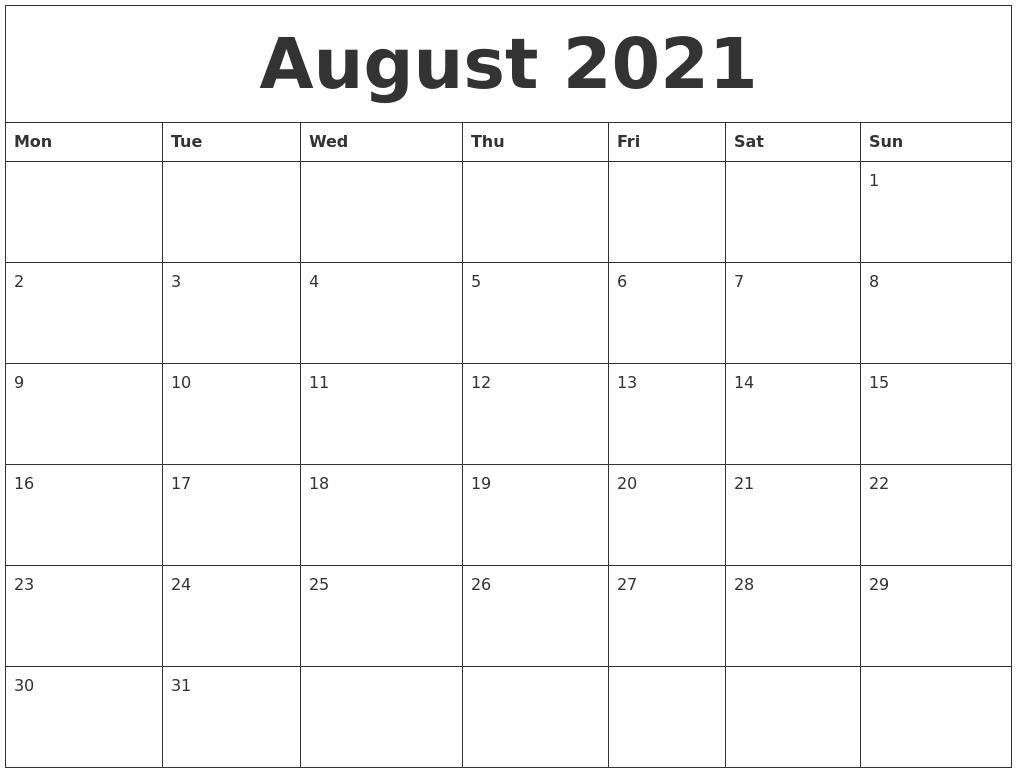 August 2021 Free Monthly Calendar Template