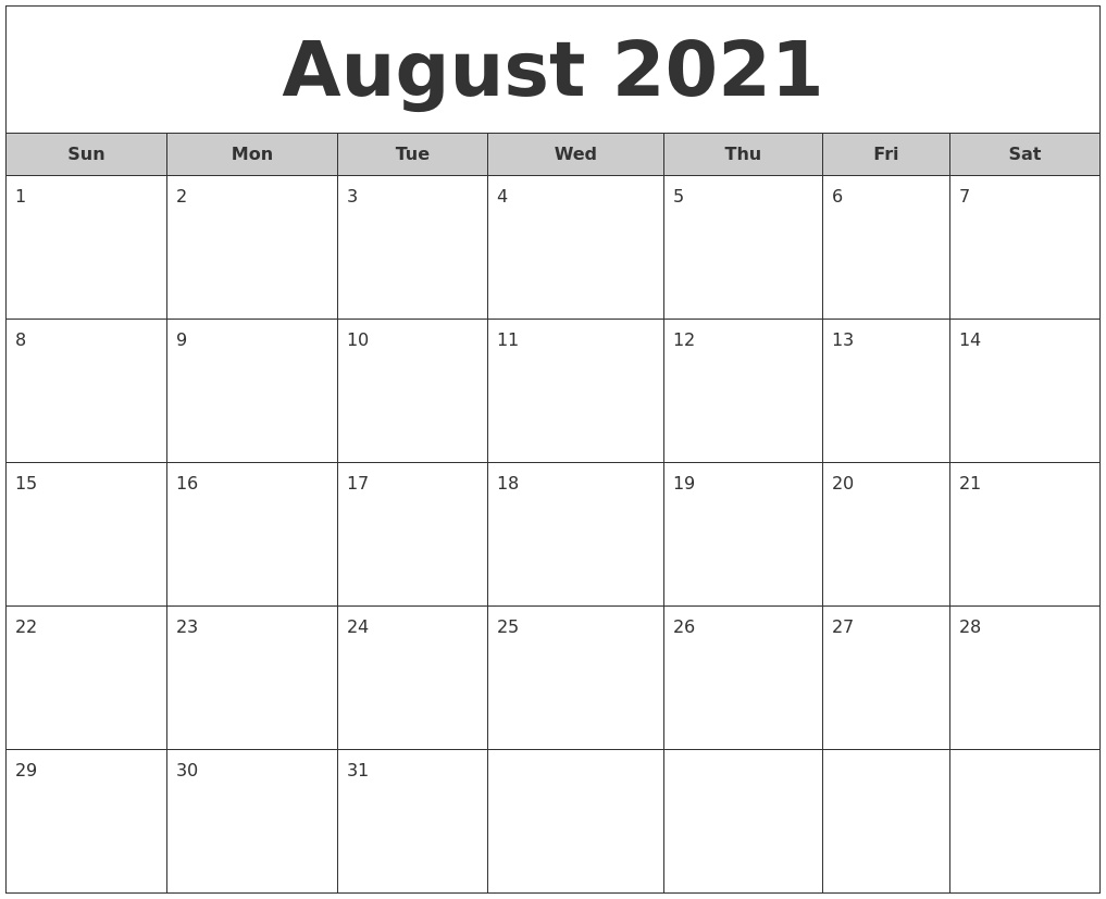 August 2021 Free Monthly Calendar