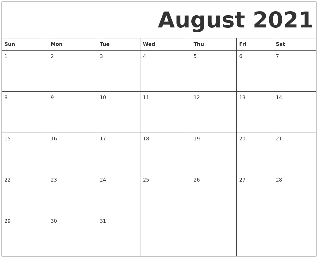Pictures of Printable Calendar Aug 2021