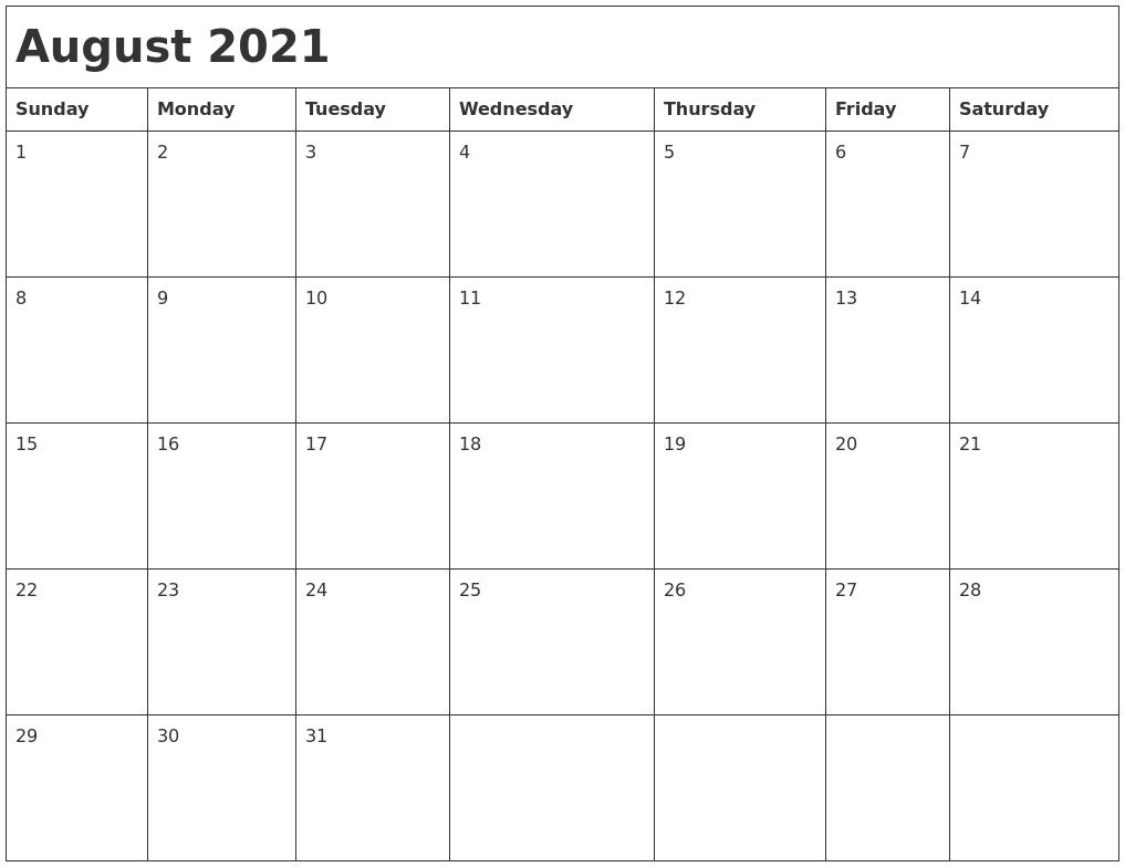 August 2021 Month Calendar PDF's