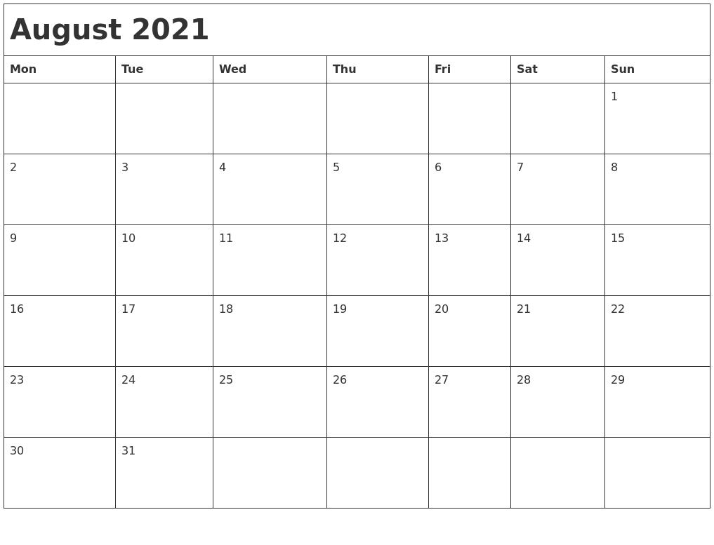 August 2021 Month Calendar